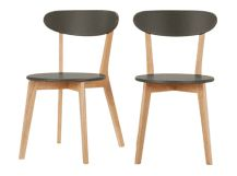 2 x Fjord Dining Chairs, Oak and Grey