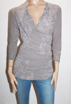 Style Type: 3/4 Sleeve Ruched Top. Manufacturer Color: Grey. Fabric Type: Mesh Lace. Sleeve Length: 3/4 Length. Manufacturer: FLOWER. Size: 16-XL. Size Origin: Aus. Material: Polyester. | eBay!