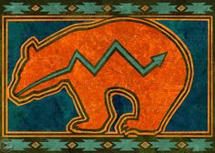 ZUNI BEAR - Southwest Collection - Available as a Greeting Card, Print, or Art Block in 2 Sizes - Prints include a Free Mat Native Symbols, Native American Symbols, Native American Design, American Indian Art, Native Art, Indian Symbols, Native American Patterns, American Decor, Southwest Quilts