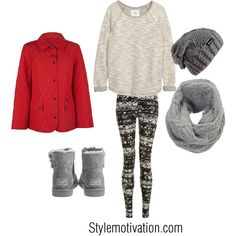 Christmas outfit by stylemotivation on Polyvore featuring H&M, Precis Petite, UGG Australia and Jigsaw