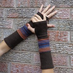 Brown fingerless gloves Upcycled arm warmers made by SewFreshAgain, $24.95