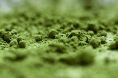 Closeup matcha powder green tea Japan