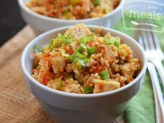 Gluten Free Dairy Free Buffalo Chicken Quinoa Salad | OAMC from Once A Month Meals
