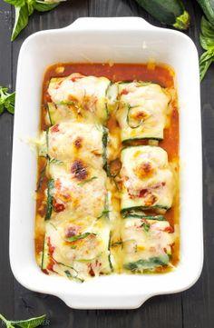 Zucchini Lasagna Rolls | Use zucchini instead of pasta in this healthy, gluten free lasagna recipe!