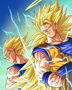 Majin Vegeta e Goku (Super Saiyajin - Majin Vegeta e Goku (Super Saiyajin - Poster Marvel, Dragon Ball Gt, Majin Boo Kid, Fan Art, Goku E Vegeta, Goku Vs, Son Goku, Manga Dragon, Ssj3