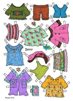 Karen`s Paper Dolls: Betty 1-2 Paper Doll in Colours. Betty 1-2 påklædningsdukke i farver.