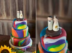 A tie-dyed fondant wedding cake at Hallockville 8/10/13. photo courtesy of Alexis Stein photography, http://alexissteinphoto.com/
