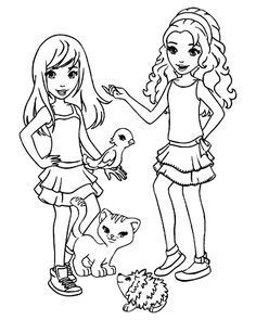 Lego Friends all coloring page for kids, printable free