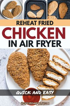 Savor every flavorful bit of your fried chicken with this reheating method! This easy air fryer method gives you leftover fried chicken that is as delicious as the first time you made it. Quick and easy - grill, stovetop, and oven instructions are also included in this guide. Click to continue. Air Fryer Dinner Recipes, Air Fryer Recipes, Lunch Recipes, Breakfast Recipes, Reheat Pizza, Air Fryer Cooking Times, Frozen Chicken Wings, Easy Mac And Cheese