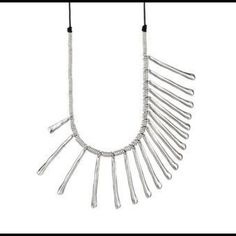 Uno De 50 Long Silver & Brown Leather Necklace