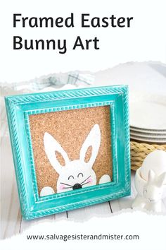 TURN A THRIFTED FRAME INTO THIS CUTE FRAMED EASTER BUNNY ART. AN EASY CRAFT AND A FUN HOME DECOR PIECE. Reuse, Upcycle, Hosting Thanksgiving, Bunny Art, Old Frames, Spring Crafts, Easter Bunny, Thrift, Easy Crafts
