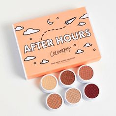 After Hours includes Super Hard Core satin ivory gold, DGAF ultra-glitter medium-toned rusty brown with multi-dimensional gold glitter, Wattles satin dusty beige pink, Amaze ultra glitter peachy gold with multi-dimensional glitter, Sailor ultra-glitter warm beige with multi-colored glitter, and Drift satin true cranberry Super Shock eye Shadows