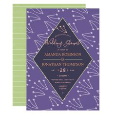 Ultra Violet Spring foliage Wedding personalized Card - calligraphy gifts custom personalize diy create your own Wedding Shower Gifts, Wedding Shower Invitations, Engagement Party Invitations, Gifts For Wedding Party, Custom Invitations, Card Wedding, Party Gifts, Wedding Bride, Invitation Card Party