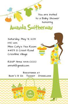 Invitación de la ducha de bebé chevron invitación impresa bebé ducha bebé monograma invitación personalizada on Etsy, $238.10