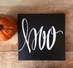 Boo canvas 12x12 hand lettered canvas quote painting by ADEprints