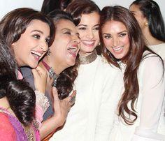 Parineeti Chopra, Shabana Azmi, Dia Mirza and Aditi Rao Hydari at the Mijwan Fashion Show. #Style #Bollywood #Fashion #Beauty