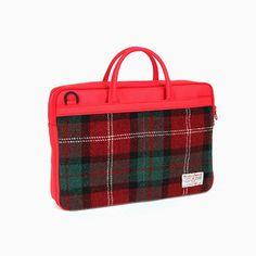Sweetch Briefcase L red x Harris tweed