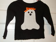 Halloween Appliqued Ghost Tee, Ready to Ship 12M 3T 4T ,  Baby Girl Toddler, Fall Children Custom Boutique Clothing Nanabugz. $12.00, via Etsy.