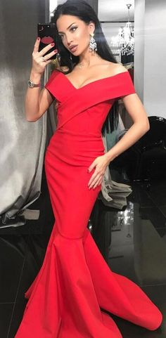 gorgeous off the shoulder red mermaid long evening dress prom dress wedding party dress, 2k18 prom dress party dress