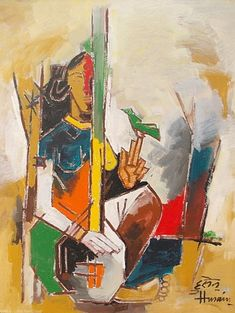 Lady with Veena - Maqbul Fida Husain Abstract Tree Painting, Artist Painting, Artist Art, Painting & Drawing, Knife Painting, Painting Tips, Watercolor Painting, Abstract Art, Art And Illustration