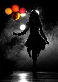 silhouette portrait - the splash of color is a genius idea. a silhouette in darkness - AWESOME! Night Photography, White Photography, Portrait Photography, Halloween Photography, Street Photography, Ballons Photography, Sad Girl Photography, Creepy Photography, Carnival Photography