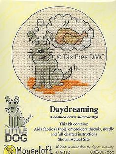 VAT Free Mouseloft Little Dog Puppy Daydreaming Counted Cross Stitch Kit New