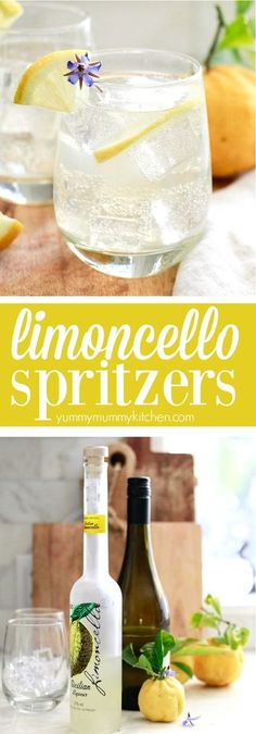 Limoncello spritzers are such fun and tasty Italian inspired cocktails! These easy limoncello prosecco spritzers are the perfect drink for spring and summer parties! A delicious and easy Italian lemon cocktail spritzer made with limoncello and prosecco. Limoncello Cocktails, Beste Cocktails, Drinks With Lemoncello, Prosecco Drinks, Summer Drinks, Fun Drinks, Healthy Drinks, Alcoholic Drinks, Summer Parties