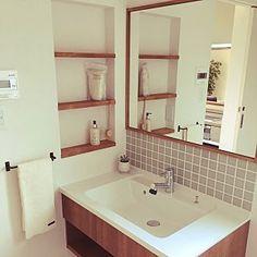 男性で、Bathroom/鏡/洗面台/Panasonic洗面台についてのインテリア実例。 「洗面台...」 (2017-07-21 23:46:53に共有されました)