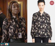 Daisy's black and white floral top on Madam Secretary.  Outfit Details: http://wornontv.net/43562/ #MadamSecretary