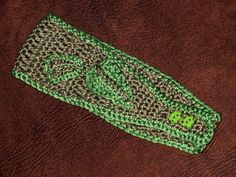 Contrast Edge Crochet Headband with Leaf Embellishments by theartofmegan, via Flickr