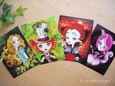 Alice au pays des merveilles Postcard Set de 8 par sandragrafik
