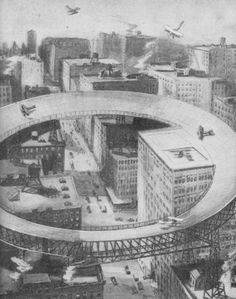 """Proposal for a downtown """"airport"""", 1917, Chicago."""