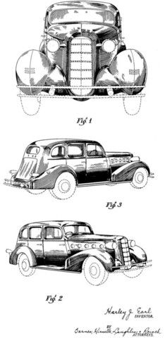 An automobile design by Harley J. Earl, who went on to design the original Corvette in 1953. This design patent for a La Salle was filed by Earl and assigned to the General Motors Corporation. The pat