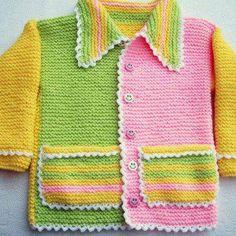 No pattern - just idea. Baby Dress Pattern Free, Baby Sweater Patterns, Baby Dress Patterns, Baby Girl Cardigans, Knit Baby Sweaters, Baby Cardigan, Kids Knitting Patterns, Knitting For Kids, Baby Girl Crochet