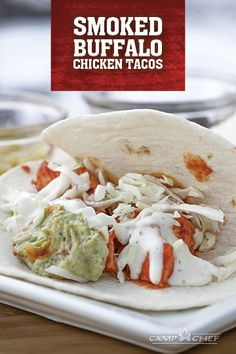 Need a quick, easy way to feed a bunch of people? Try this recipe for Smoked Buffalo Chicken Tacos. The smoke and hot sauce give this meal great flavor. Buffalo Chicken Tacos, Buffalo Chicken Recipes, Pellet Grill Recipes, Grilling Recipes, How To Cook Pheasant, Tailgate Food, Tailgating, Starter Dishes, Smoking Recipes