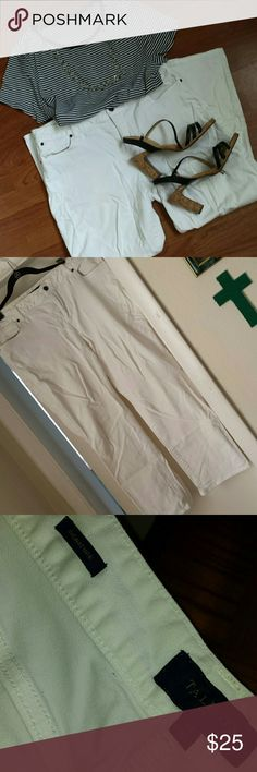 Talbots white jeans Signature fit, comfortable, and great for a spiffy casual outing. First photo is actual color. Last photo shows  a small imperfection. On the back lower pant leg. Smoke free and pet free home. Gently worn so zero to minimal wear. Ask questions prior to buying. Sad to part with, but I've lost weight and they are too big now. Size 14 Talbots Pants Straight Leg