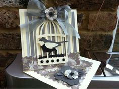 Easel card using Tim Holtz cage die