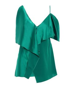 #Italist - #Diane von Furstenberg Maxi Ruffle Asymmetrical Top - AdoreWe.com