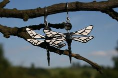 Dragonfly earrings with agate handpainted stainless by CinkyLinky