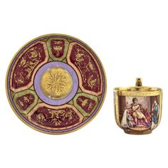 Vienna tea/coffee cup and saucer, neoclassical scene