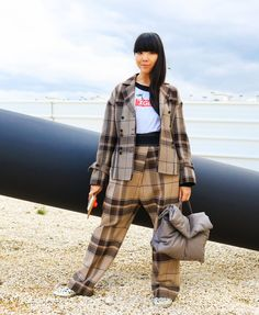 Susie Lau in a Céline jacket and pants and X-Girl T-shirt - PFW a/w 2016
