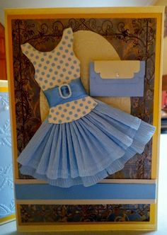 Today's Makes Here is the Miniature paper dress card we made this morning. with a matching box. Dress Card, Scrapbook Embellishments, Handmade Dresses, Your Cards, Birthday Cards, Baby Kids, Card Making, Paper Crafts, Crafty
