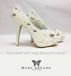 MY latest design!!!!!!!!!!!!!!!!!!1  LUXURY Pearl with chunky crystals Peep toe platforms by MDNY, $299.00