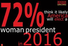 72% of Americans believe it is likely that America will elect a woman president in the next presidential election, including 86% of Democratic primary voters. If you, too, think it's likely, SHARE this with your friends to tell them we can do it! Then join us today --> www.emilyslist.org/madam-president
