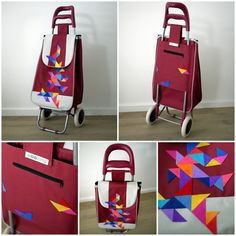 triangular pattern on handmade shopping trolley - woozing - ride your bag Shopping Cart Cover, Shopping Bag, Triangular Pattern, You Bag, Baby Strollers, Quilting, Children, Handmade, Image