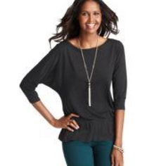 """BUNDLE SALE!! LOFT Peplum Top Charcoal grey peplum top in EUC.  Dolman sleeves.  Cute zipper detail in back.  25"""" in length, a little over 14"""" across waist when unstretched but stretches to 21"""". LOFT Tops Blouses"""