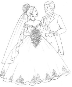 free wedding coloring pages 2.jpg (584×705)