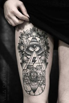 UP AND DOWN DIRECTION Combination of triangles and lines and skull.  triangle tattoo | Tumblr