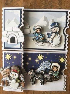 Homemade Christmas Cards, Merry Christmas Card, Xmas Cards, Christmas Snowman, Christmas Greetings, Diy Cards, Ticket Card, Mini Scrapbook Albums, Marianne Design