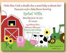 Barn Yard Friends, Baby Shower or Birthday Invitations